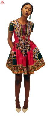 Deep Re (Maroon) Dashiki Print Skater Dress