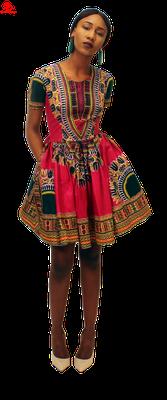 Deep Re (Maroon) Dashiki Print Skater Dress