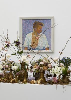 Werk: Cuno Amiet, Bauernfrau, 1906 / Florale Interpretation: Sabrina Hegner, Näfels / Aargauer Kunsthaus, Aarau / Blumen für die Kunst, 7.3 – 12.3.2017 / Foto: David Aebi, Burgdorf