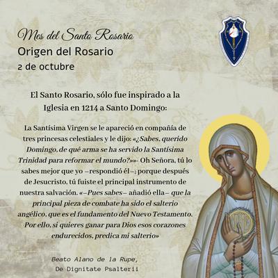 2 octubre: Origen del Santo Rosario
