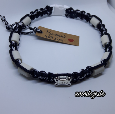 em4dogs.de EM-Keramik Hundehalsband schwarz weiß