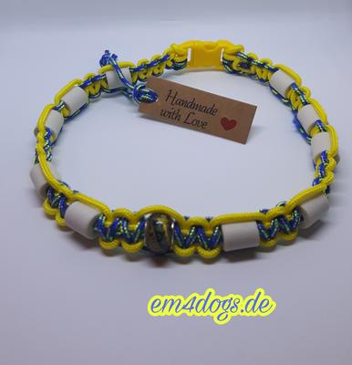 em4dogs.de EM-Keramik Hundehalsband gelb blau gemischt
