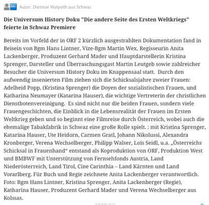 """""""Österreichs Schicksal in Frauenhand"""" vom 09. Mai 2018 in """"Bezirksblätter"""" - meinbezirk.at"""