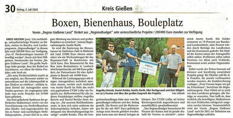 Pressebericht Gießener Anzeiger Förderpreisübergabe an CVJM Lollar durch den Verein Region Gießener Land e. V.