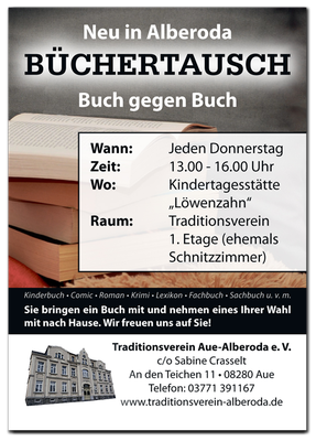 Büchertausch Plakat Traditionsverein Alberoda