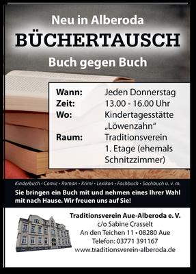 Büchertausch Plakat Traditionsverein Alberoda