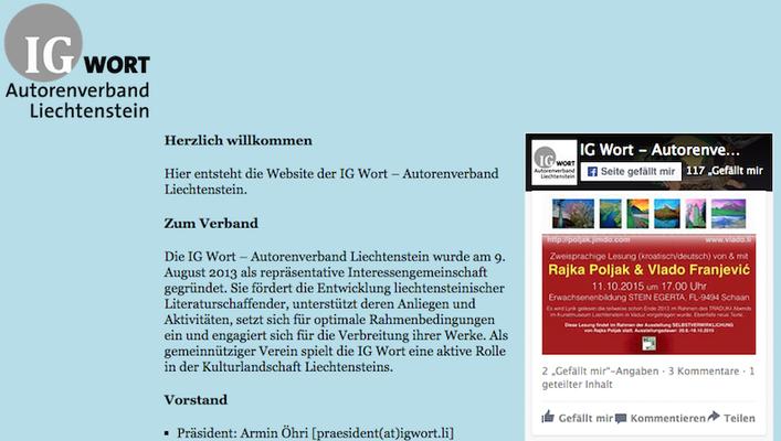 IG Wort - Autorenverband Liechtenstein promotete an seiner Seite die Lesung von Rajka Poljak in Stein Egerta