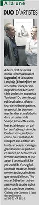 Article La Dépêche, A la une, Duo d'artistes, sculpteur Langloÿs et le peintre Thomas Bossard