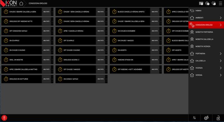 Schermata di gestione con oggetti tipico di ikon ma comandi verso tecnologia esterna Domintell