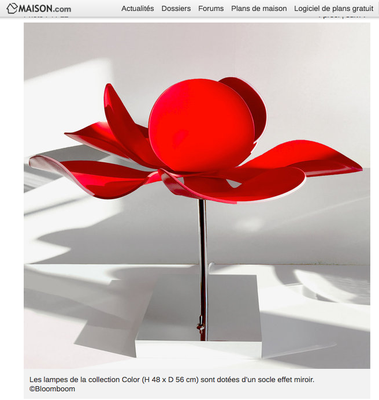 Bloomboom - Lampe Fleur, Flowerlamp, Lampe à poser, lampe à pied, maison.com, rouge, made in France, artisanal, Paris, interieor design, décor, luminaires, made in france, création François-Marie Gérard et Irma Birka, pop, podesign, 60ies