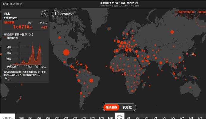 2020年5月31日 日本の感染者数 1万7千人