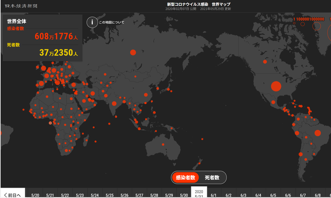 2020年5月31日 世界の感染者数 608万人
