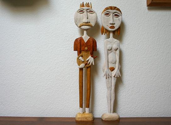 Maler und Modell Pappelholz gebeizt.