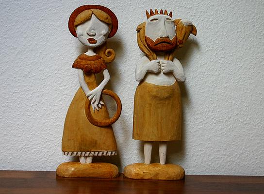 Bauernpaar Lindenholz gebeizt.