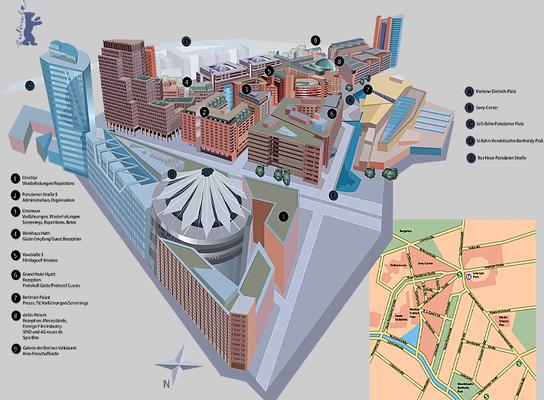 Eventorte. Übersicht  Potsdamer Platz zur Berlinale, doppelseitige Infografik. Der Tagesspiegel.