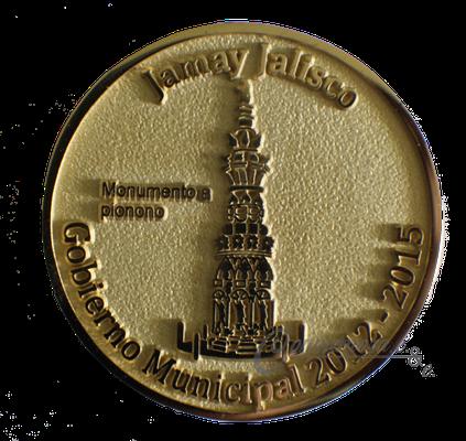 Moneda en metal Rex chapa en oro 21k, 50mm, vaciado en 2D, 100 AÑOS JAMAY