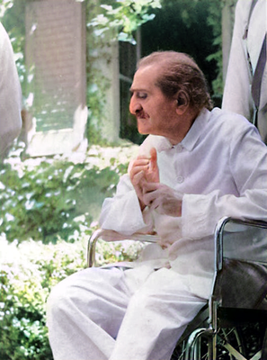1952 Locarno : Baba relaxing in the garden next to Hedi's home. Image colourized by Anthony Zois.