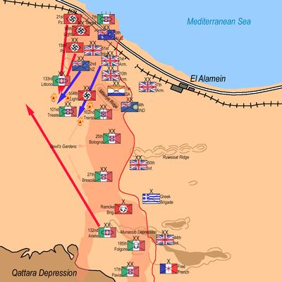 Map showing the war dynamics near El Alamein
