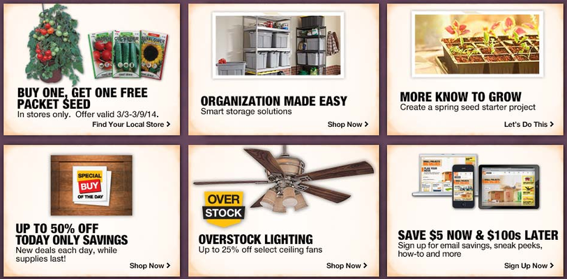 Promo page for Homedepot.com