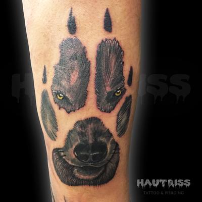 Tattoo Wolf, Tatze, Gesicht