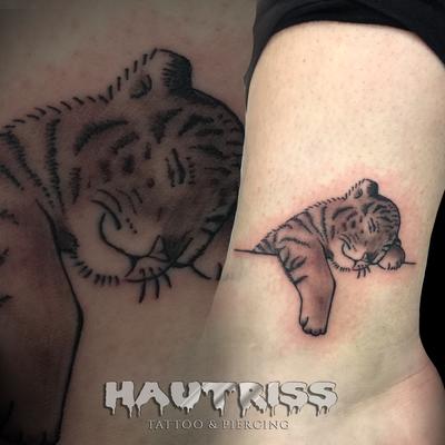 Tiger-Tatto, Fuß-Tattoo, Mini-Tattoo