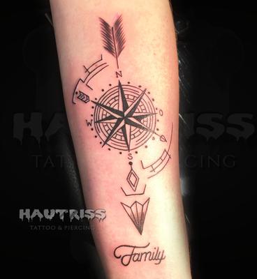 Pfeil-Tattoo, Familie, Familientattoo, Kompass