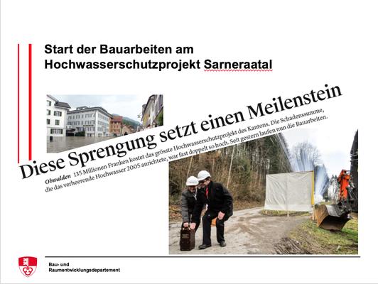 Start der Bauarbeiten am Hochwasserschutzprojekt Sarneraatal