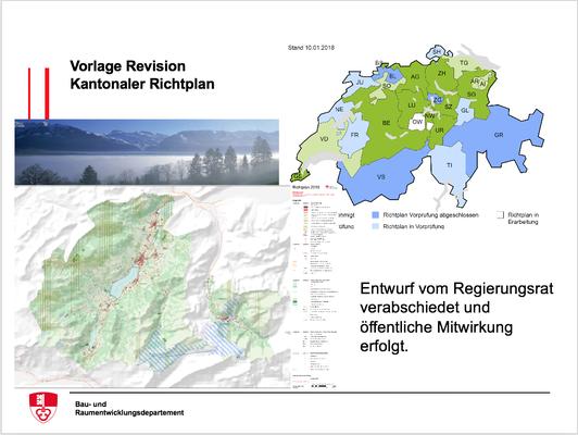Vorlage Revision  Kantonaler Richtplan - Entwurf vom Regierungsrat verabschiedet und öffentliche Mitwirkung erfolgt.