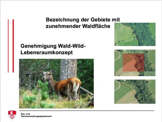 Bezeichnung der Gebiete mit zunehmender Waldfläche, Genehmigung Wald-Wild-Lebensraumkonzept