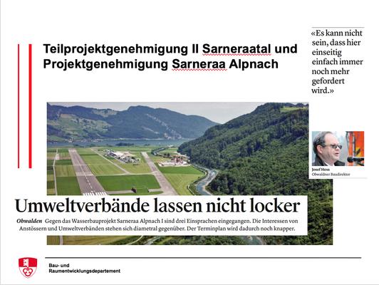 Teilprojektgenehmigung II Sarneraatal und Projektgenehmigung Sarneraa Alpnach