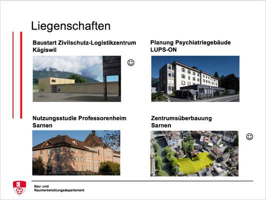 Baustart Zivilschutz-Logistikzentrum Kägiswil, Planung Psychiatriegebäude LUPS-ON, Nutzungsstudie Professorenheim Sarnen, Zentrumsüberbauung Sarnen
