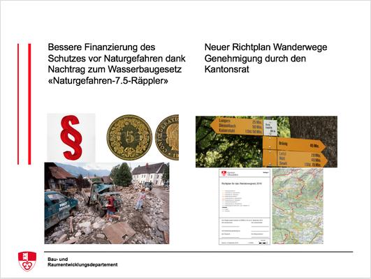 Bessere Finanzierung des Schutzes vor Naturgefahren dank Nachtrag zum Wasserbaugesetz «Naturgefahren-7.5-Räppler», neuer Richtplan Wanderwege Genehmigung durch den Kantonsrat.