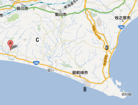 地図左  A横須賀城   B浜岡原発   C高天神城   D相良女神山