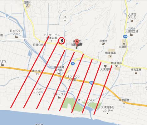 地図右  A横須賀城  B選要寺