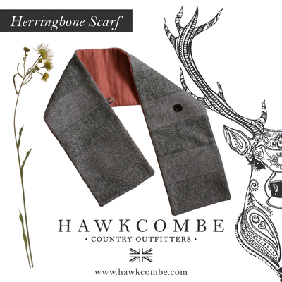Grey tweed scarf image and flora, Social Media Graphics created by Design By Pie, Freelance graphic designer, North Devon