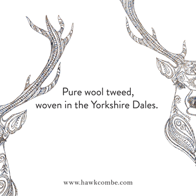 Stag logo detail and tweed made in the Yorkshire Dales text, Social Media Graphics created by Design By Pie, Freelance graphic designer, North Devon