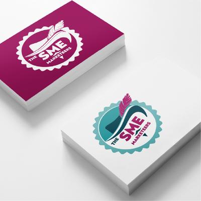 SME Marketeers logo desogn on business cards by Design By Pie, Freelance Graphic Designer, North Devon