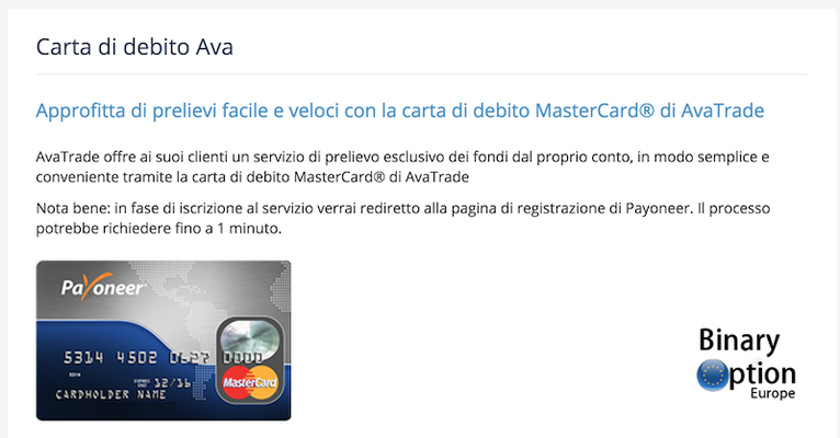 Avatarde debit card Mastercard Payoneer