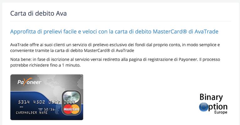 Avatrade prelievi: debit card Mastercard Payoneer