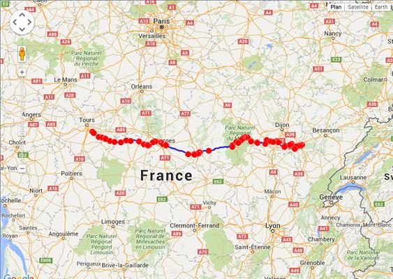 Jour 5: Dole-Tours, 448 kms