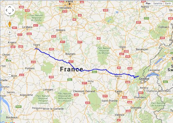 Jour 1: Tours-St Claude, 530 kms