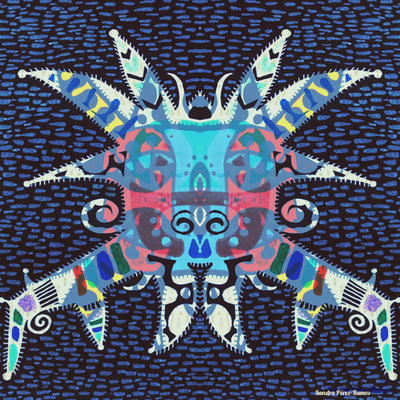 Vejigante Azul. Digital, mixed media. Sandra Pérez-Ramos.
