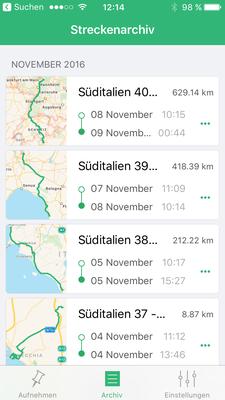 Archivierte GPS-Aufzeichnungen auf dem Smartphone