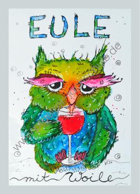Postkarte Eule mit Woile - Entspannung und Genuss