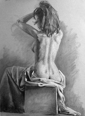 Desnudo. Carboncillo y pastel blanco 65 x 50 cm. Jose Manuel Aguilar (Alumno de 1º año)