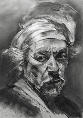 Autorretrato. Copia de David Leffel, carboncillo 65 x 50 cm. Eduardo Sordo (Alumno de 3º año)