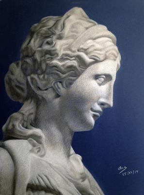 Busto femenino. Carré 65 x 50 cm. Ana Rodríguez (Alumna de 3º año)