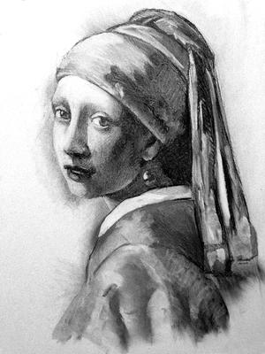 La niña de la perla. Copia de Vermeeer, carboncillo 65 x 50 cm. Juan Pedro Amador (Alumno de 3º año)