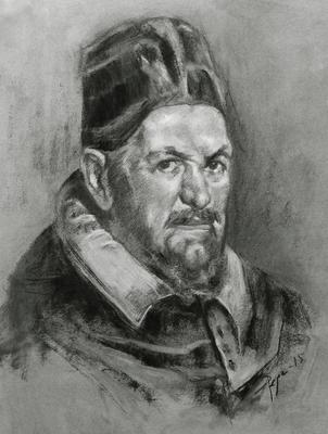 Inocencio X. Copia de Velázquez, carboncillo 65 x 50 cm. Pepa López (Alumna de 1º Año).