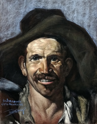 Los borrachos (Detalle). Copia de Velázquez, pastel 65 x 50 cm. Manolo Zambrano (Alumno de 1º año)